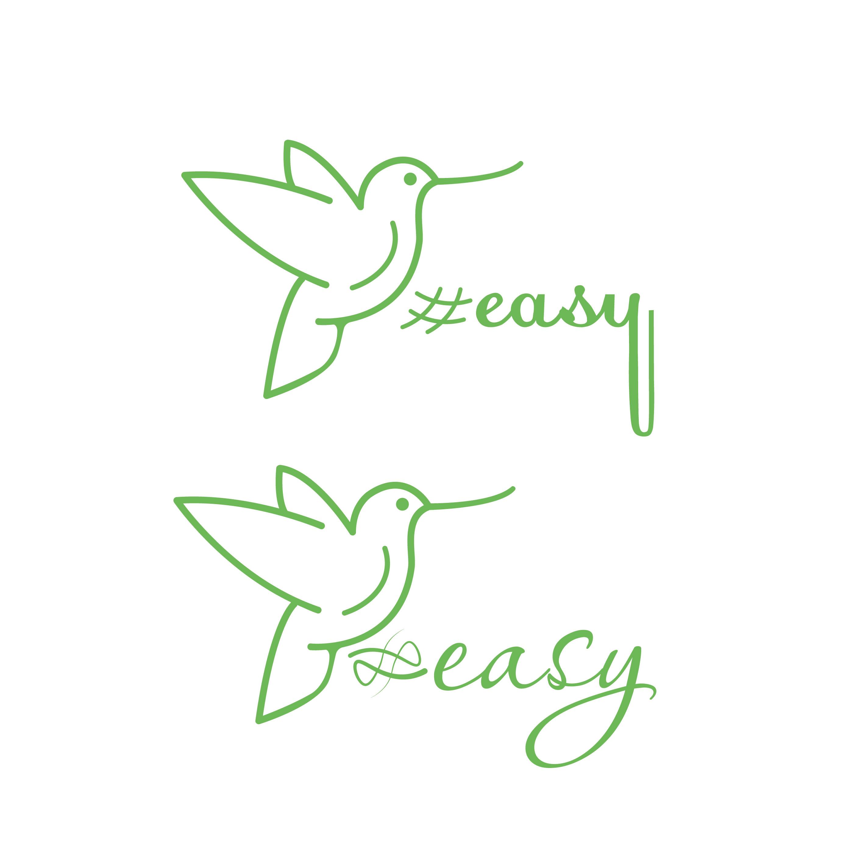 Разработка логотипа в виде хэштега #easy с зеленой колибри  фото f_6585d4efef3b6f7b.jpg