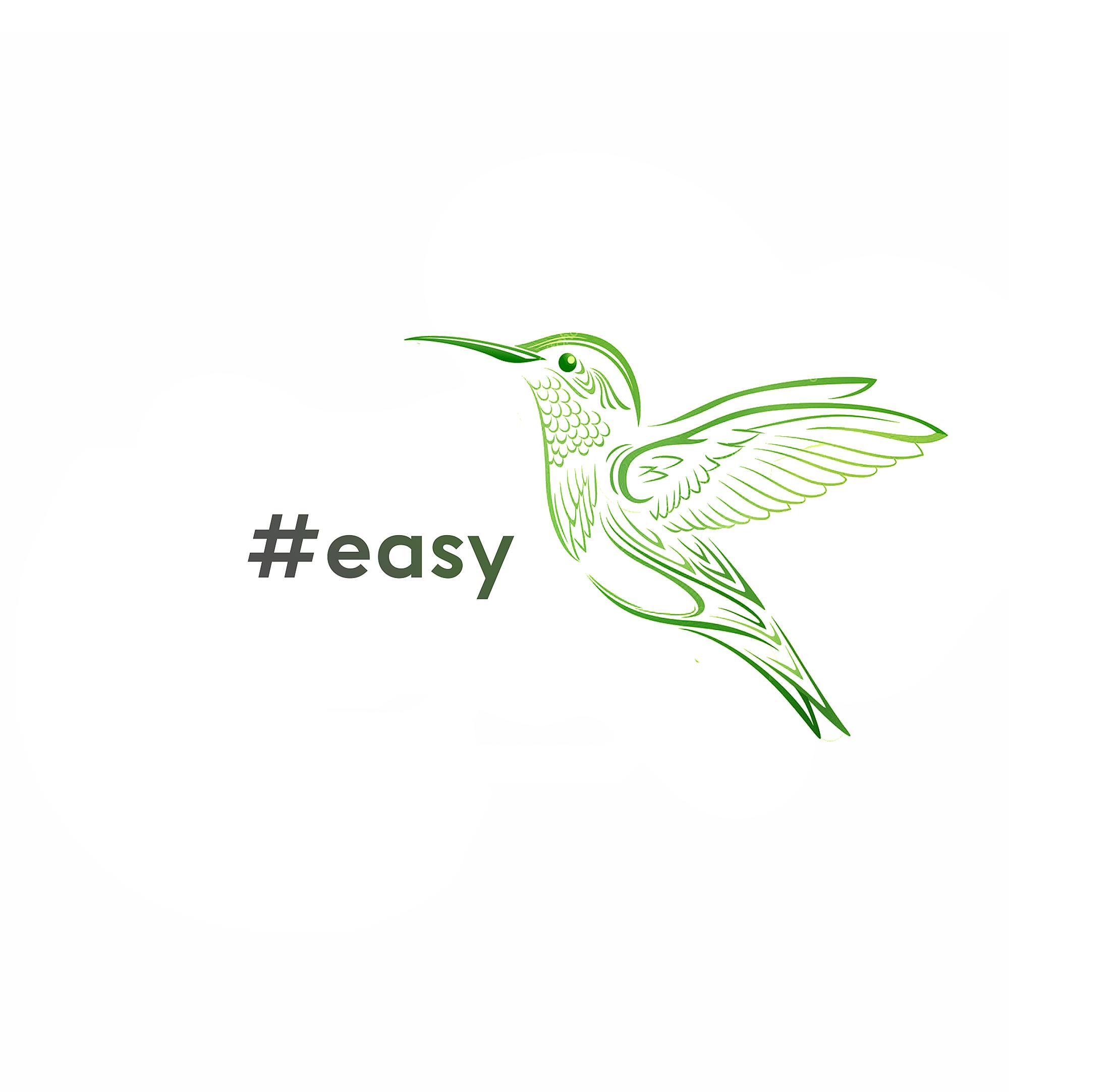 Разработка логотипа в виде хэштега #easy с зеленой колибри  фото f_2275d4e7d0a73ec0.png