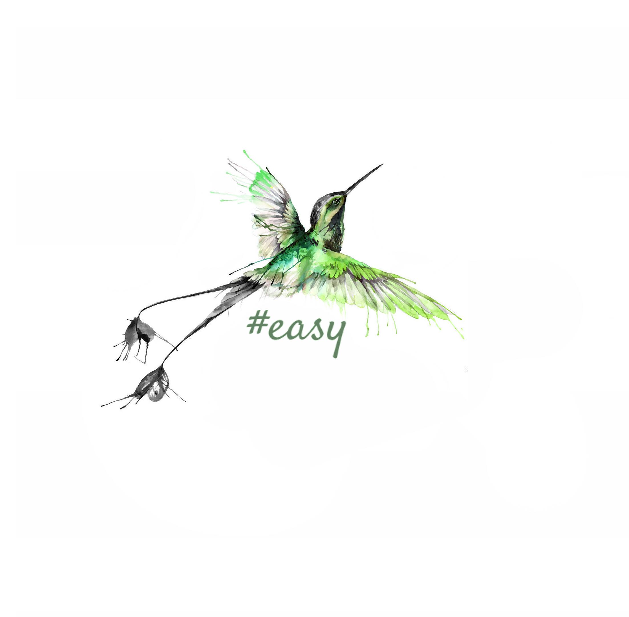 Разработка логотипа в виде хэштега #easy с зеленой колибри  фото f_3825d4e7d2458198.jpg