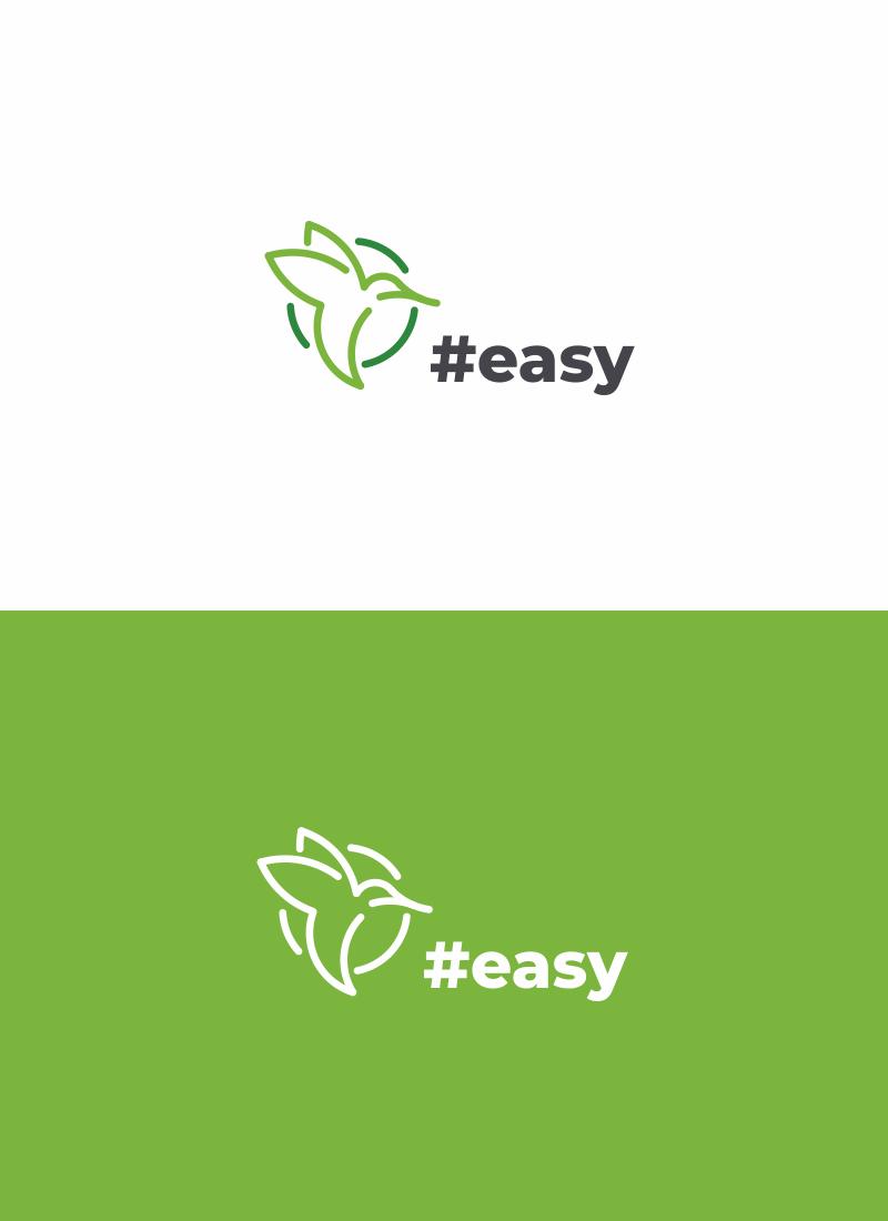 Разработка логотипа в виде хэштега #easy с зеленой колибри  фото f_3475d4d8d2519be7.png