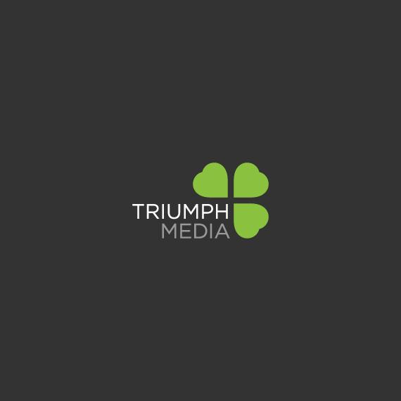 Разработка логотипа  TRIUMPH MEDIA с изображением клевера фото f_506f9532c84fd.jpg