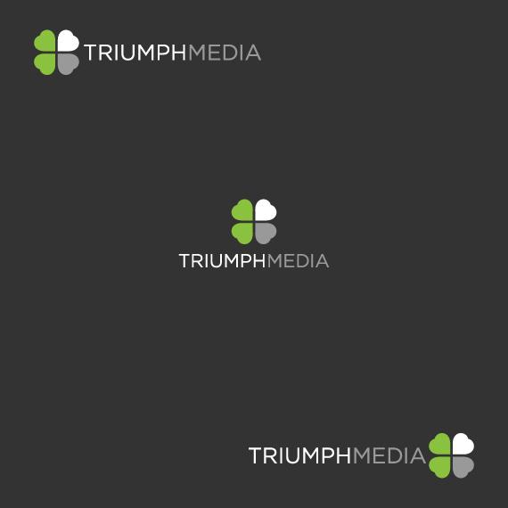 Разработка логотипа  TRIUMPH MEDIA с изображением клевера фото f_506ffa8aabc53.jpg