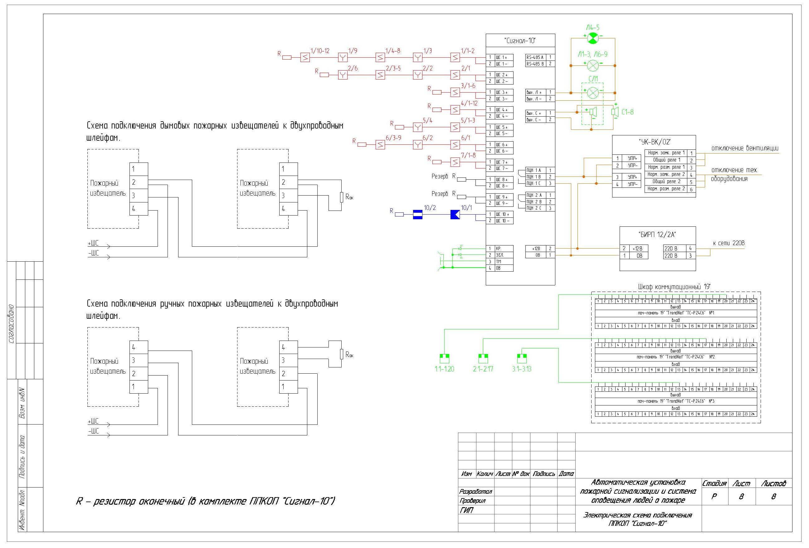 Электрическая схема подключения оборудования