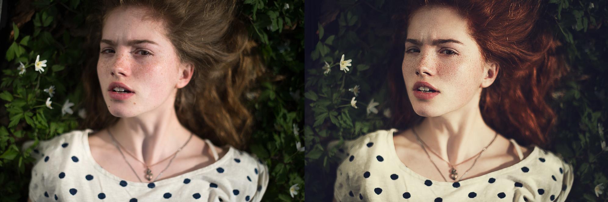 Портретная ретушь, цветокоррекция.