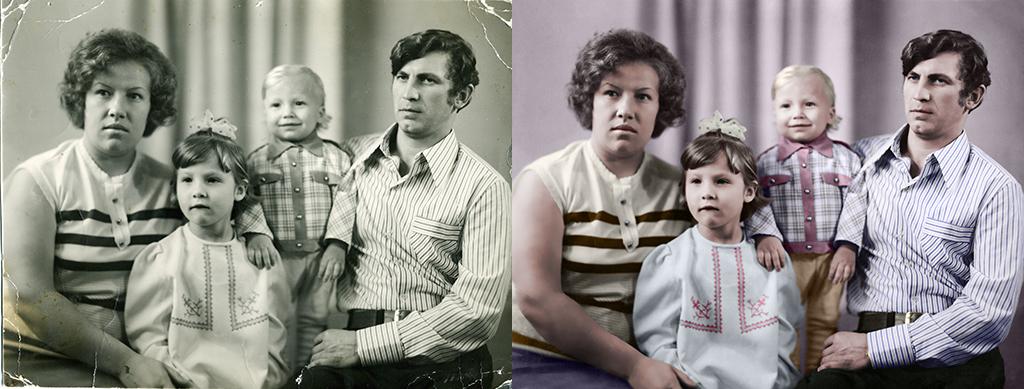 Реставрация и раскраска чёрно-белой фотографии