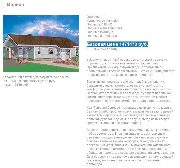 Описания проектов домов