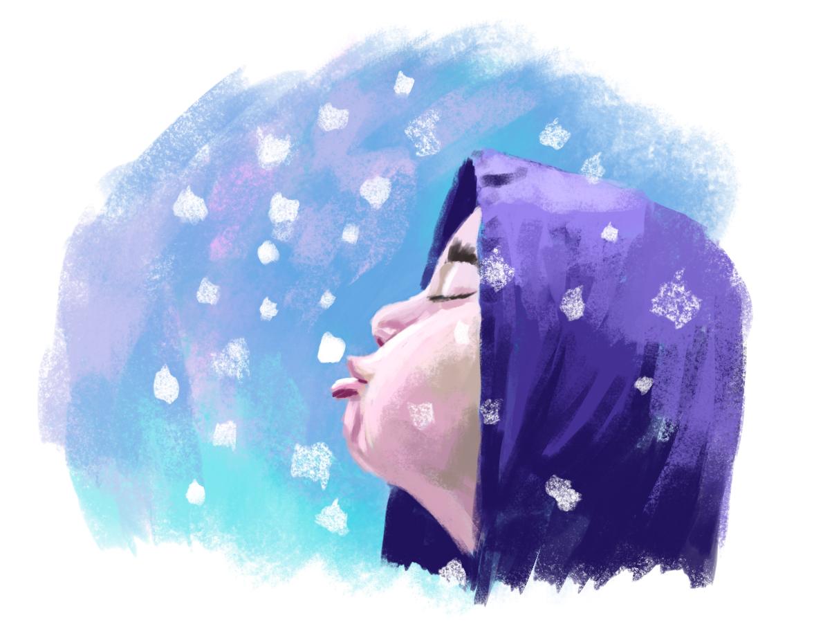Мальчик ловит снег. (study)