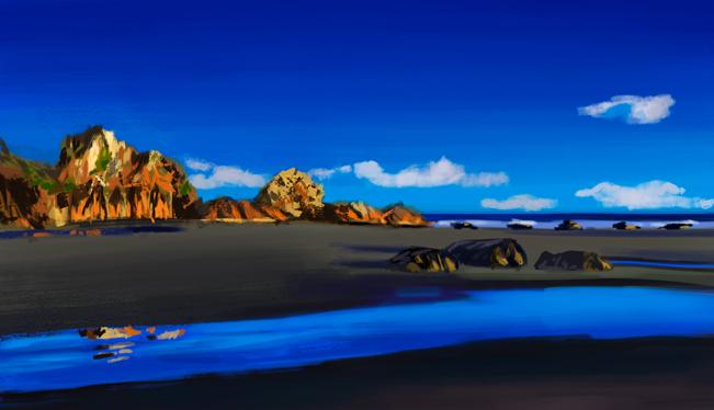 Рассвет у морских скал