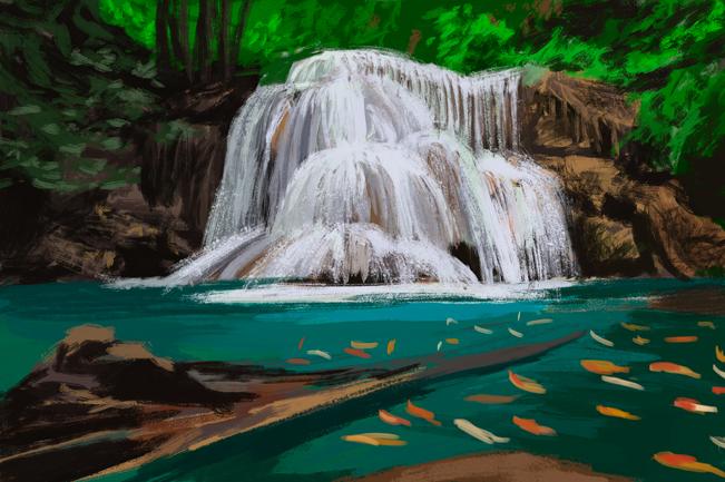 Водопад и карпы