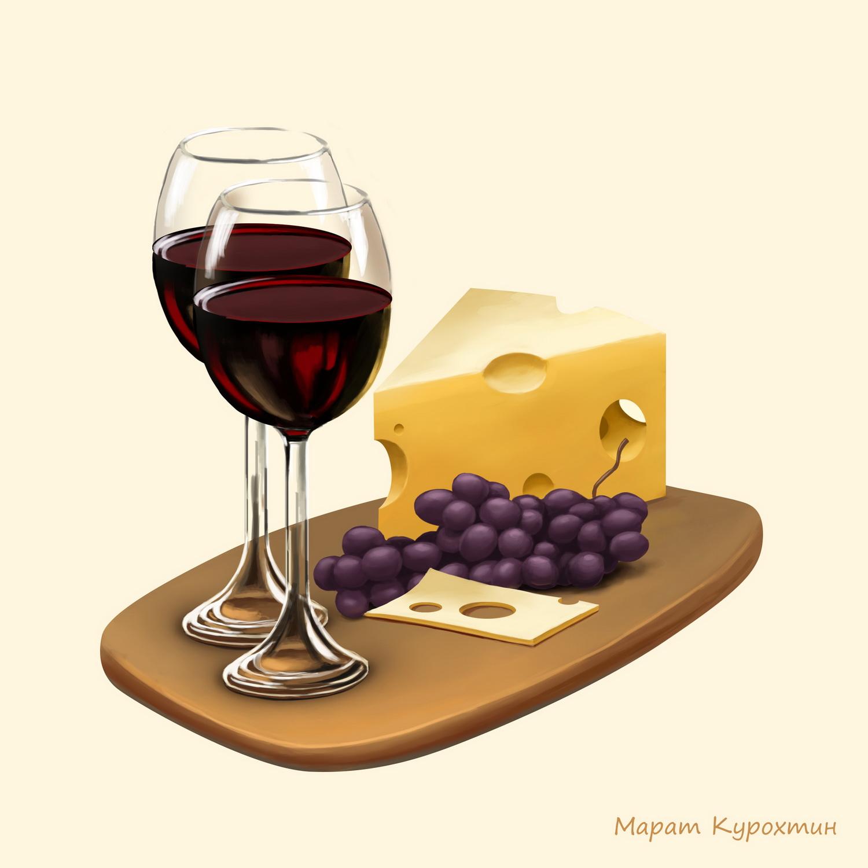 Вино и сыр. (декор для плитки)