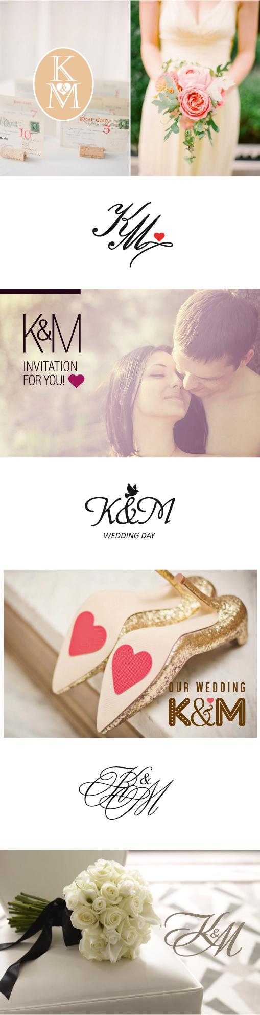 Знак для оформления свадебной полиграфии из первых букв имен жениха и невесты K&M