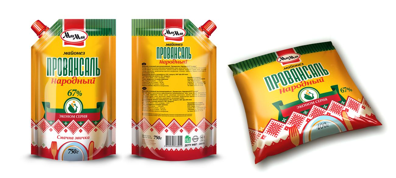 """Дизайн упаковки (дойпак и пленка) для майонеза ТМ """"МакМай"""""""