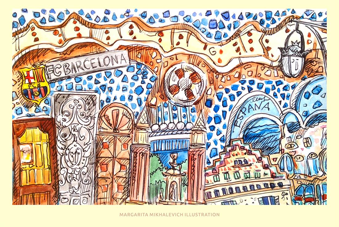 """Иллюстрация из серии """"Путешествия"""".  Испания"""