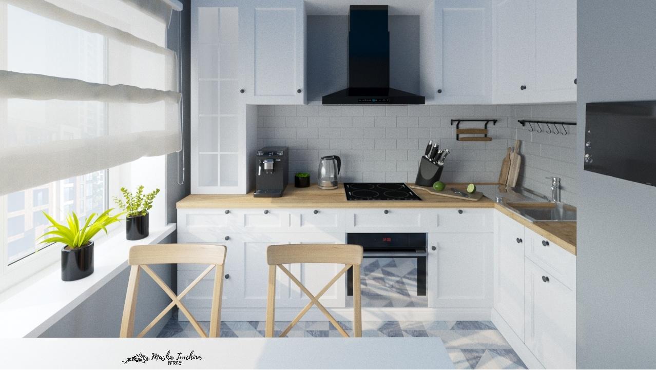 Кухня 12 кв.м., Скандинавский стиль