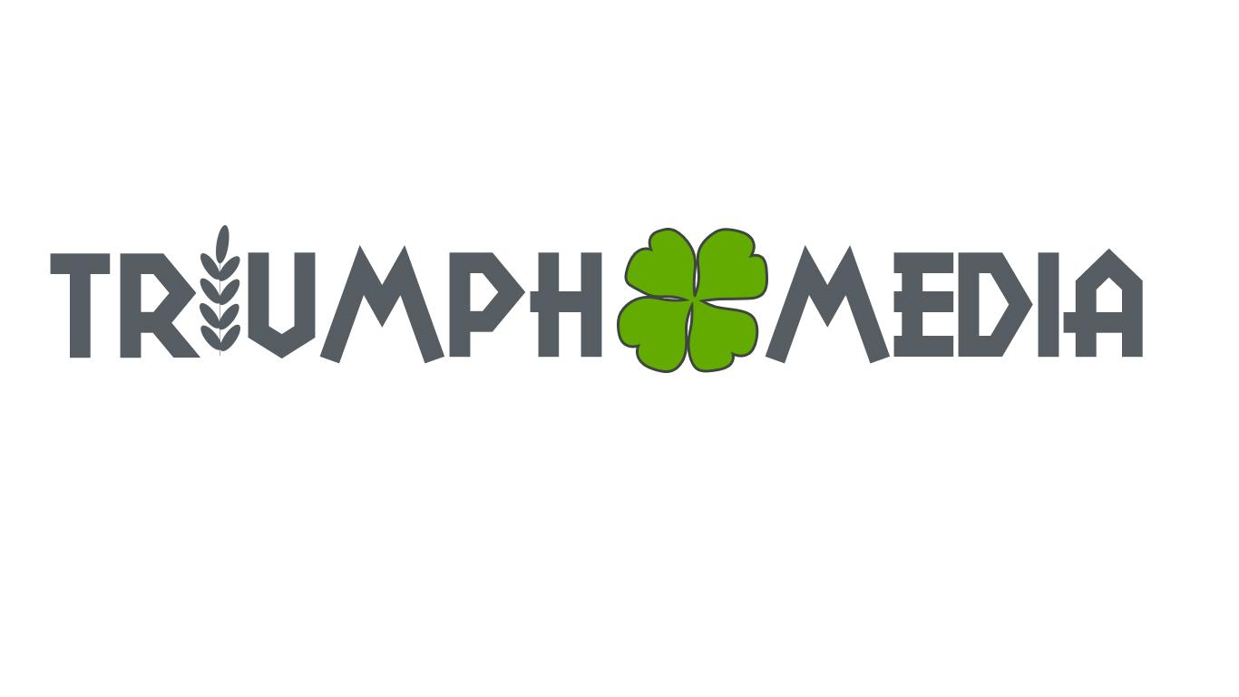Разработка логотипа  TRIUMPH MEDIA с изображением клевера фото f_50752c84f0f9b.jpg