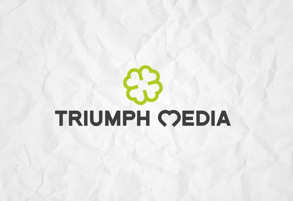 Разработка логотипа  TRIUMPH MEDIA с изображением клевера фото f_507031552c89f.png