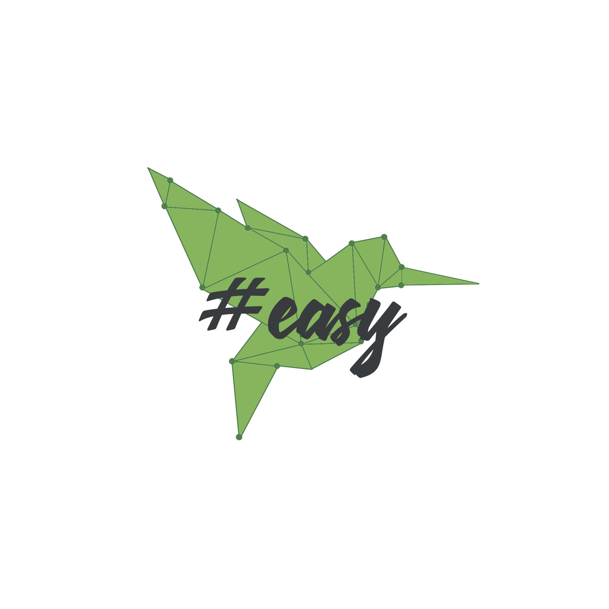 Разработка логотипа в виде хэштега #easy с зеленой колибри  фото f_6015d4f1cc1467ca.jpg