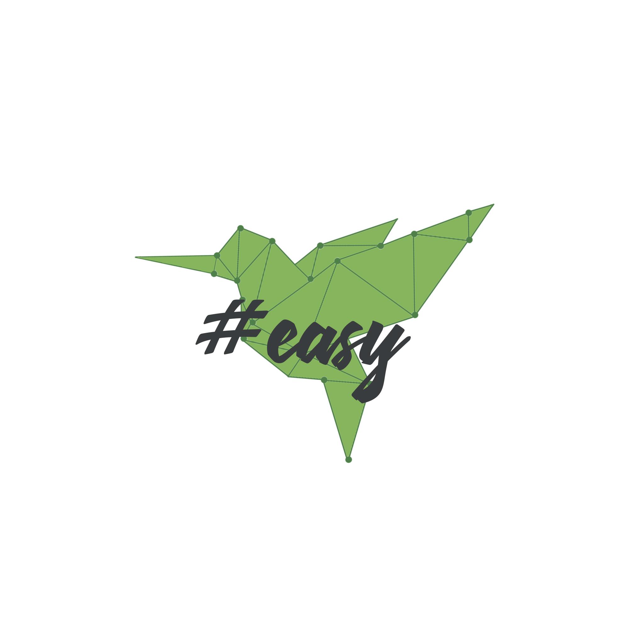 Разработка логотипа в виде хэштега #easy с зеленой колибри  фото f_8995d4f1cc53545d.jpg