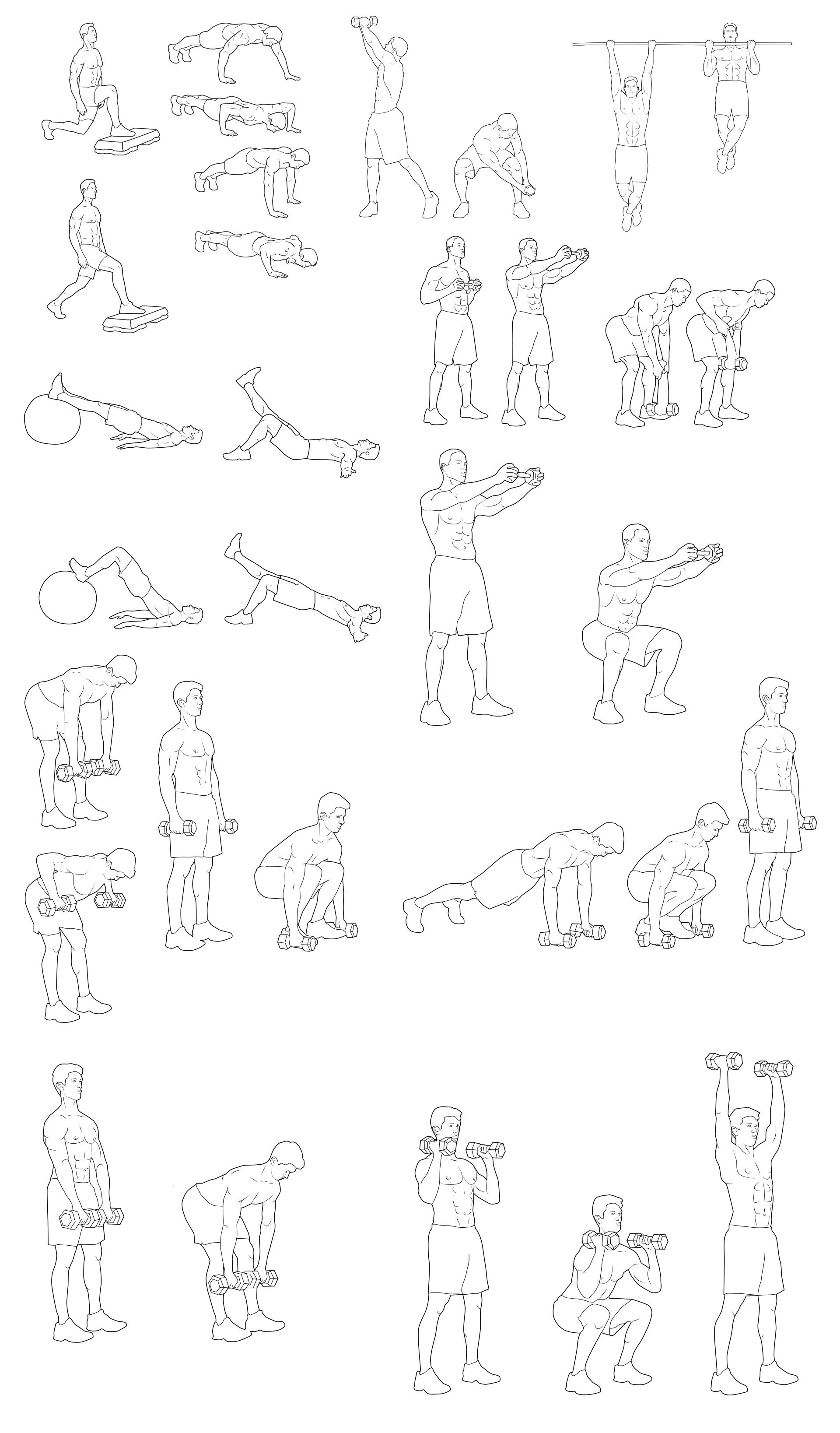 Серия иллюстраций по фитнесу