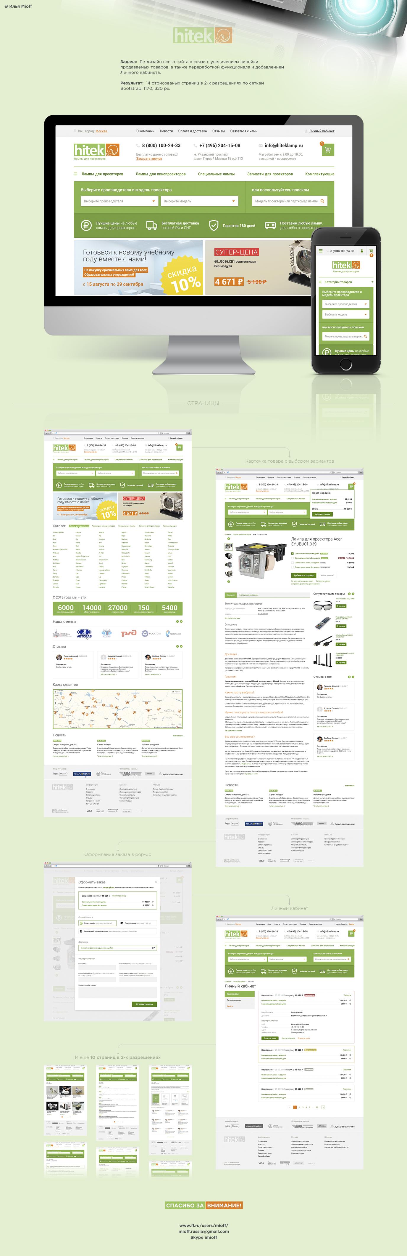 HITEK Lamp - лампы для проекторов (14 страниц в 2-х разрешениях по сеткам Bootstrap)