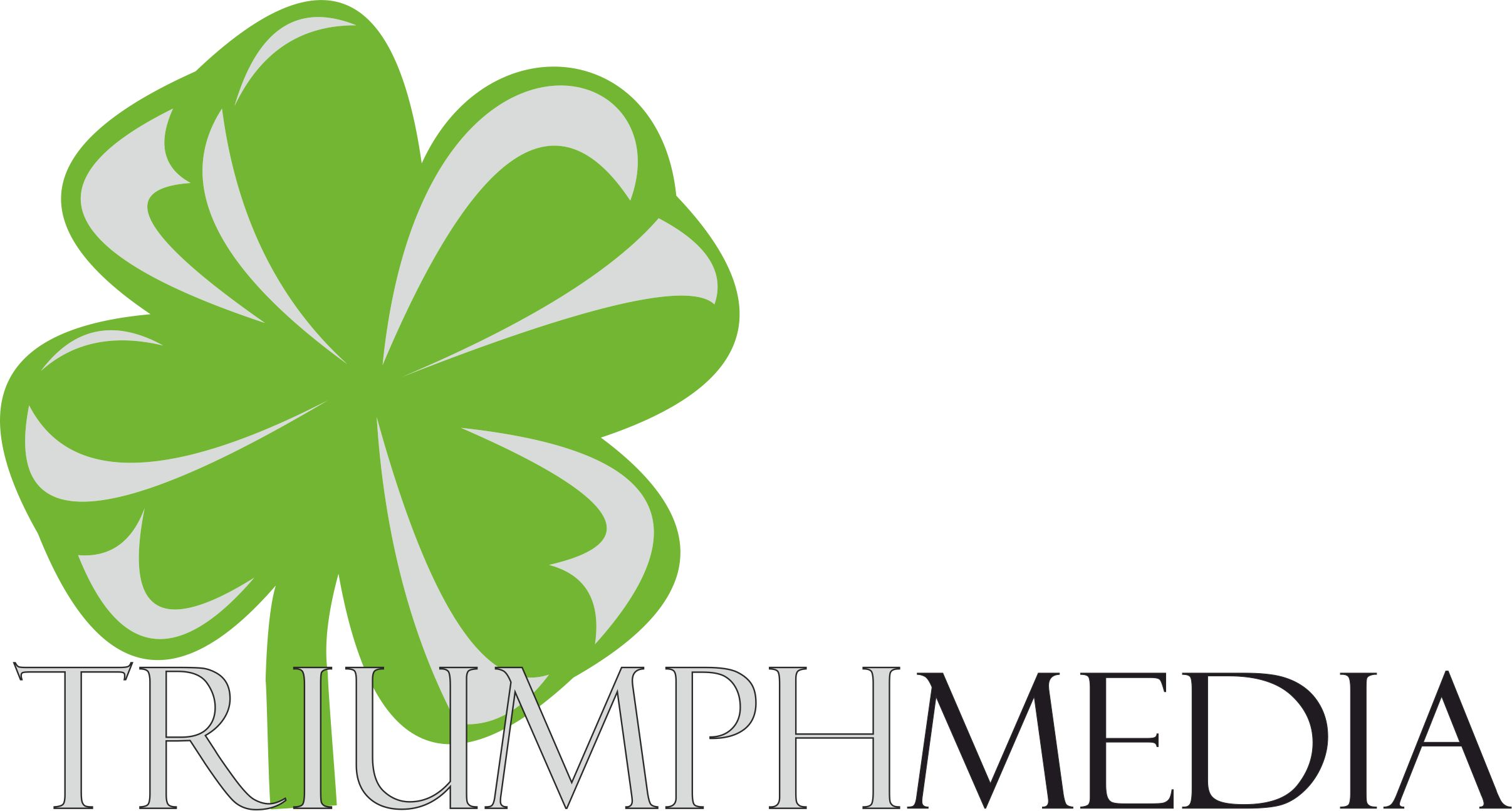 Разработка логотипа  TRIUMPH MEDIA с изображением клевера фото f_506ee82d63a28.jpg