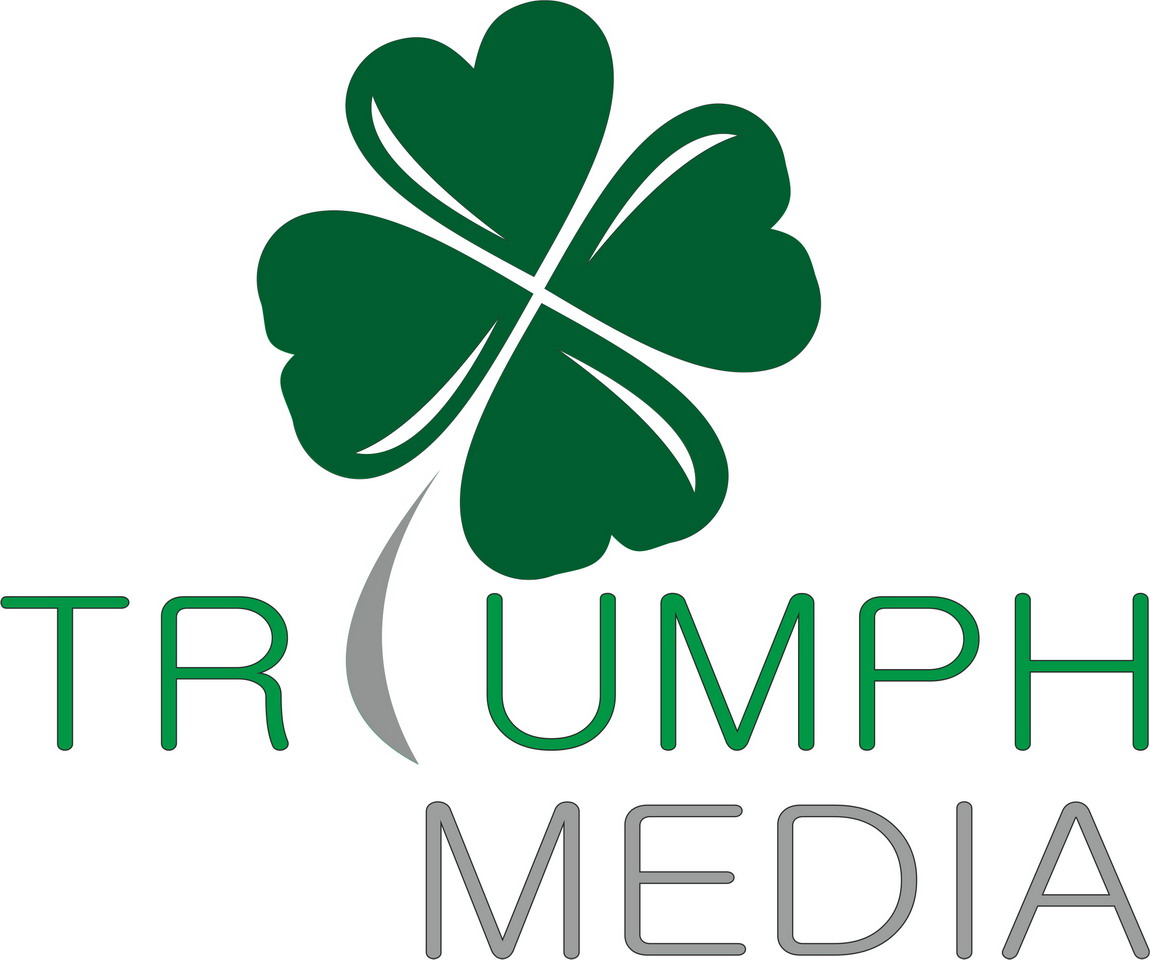 Разработка логотипа  TRIUMPH MEDIA с изображением клевера фото f_506eeba91834f.jpg
