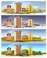 Город, сезоны, иллюстрация для сайта