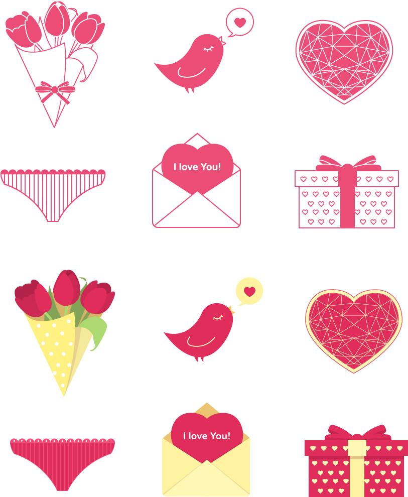 День Св. Валентина (набор иконок)