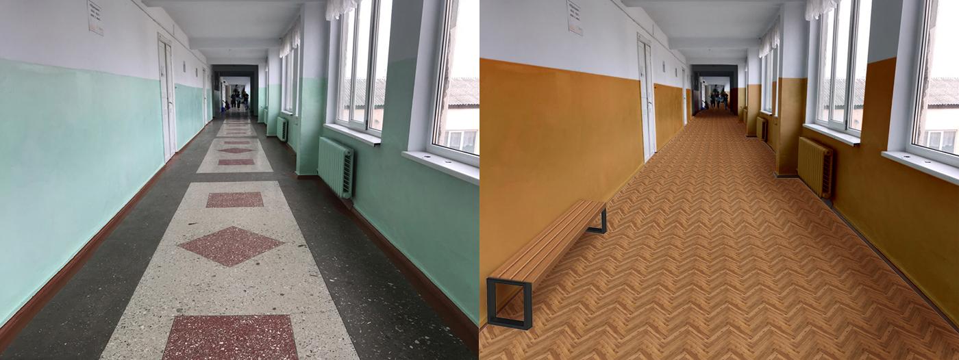 Коридор_замена покрытия и перекраска