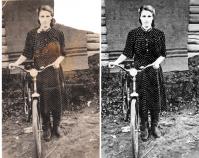 Восстановление старого фото (девушка с велосипедом)