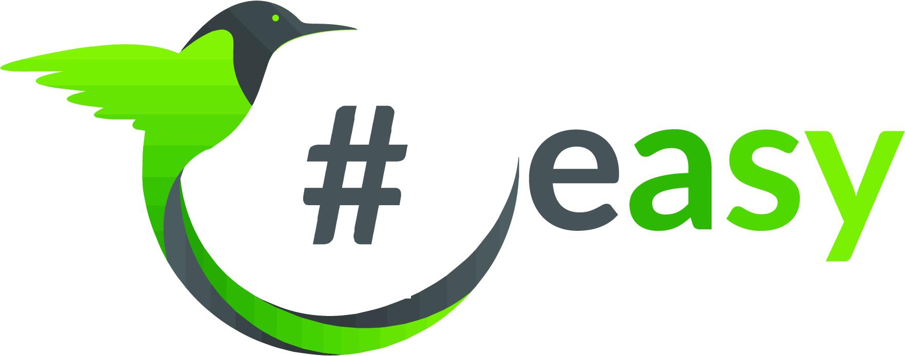 Разработка логотипа в виде хэштега #easy с зеленой колибри  фото f_0685d4fb0446ed6f.jpg