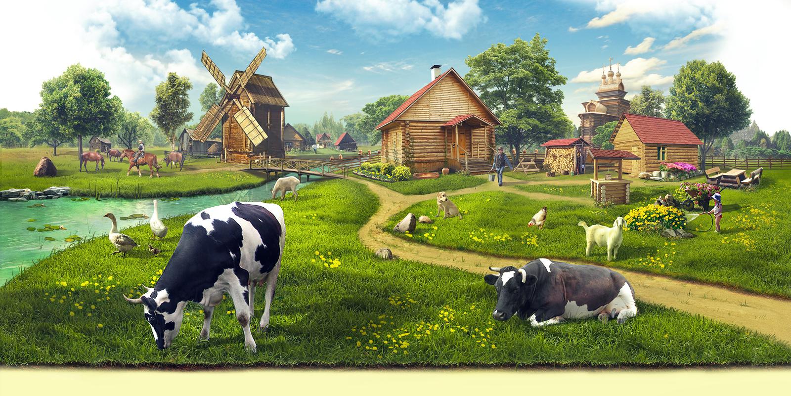 Крестьянское подворье иллюстрация для сайта