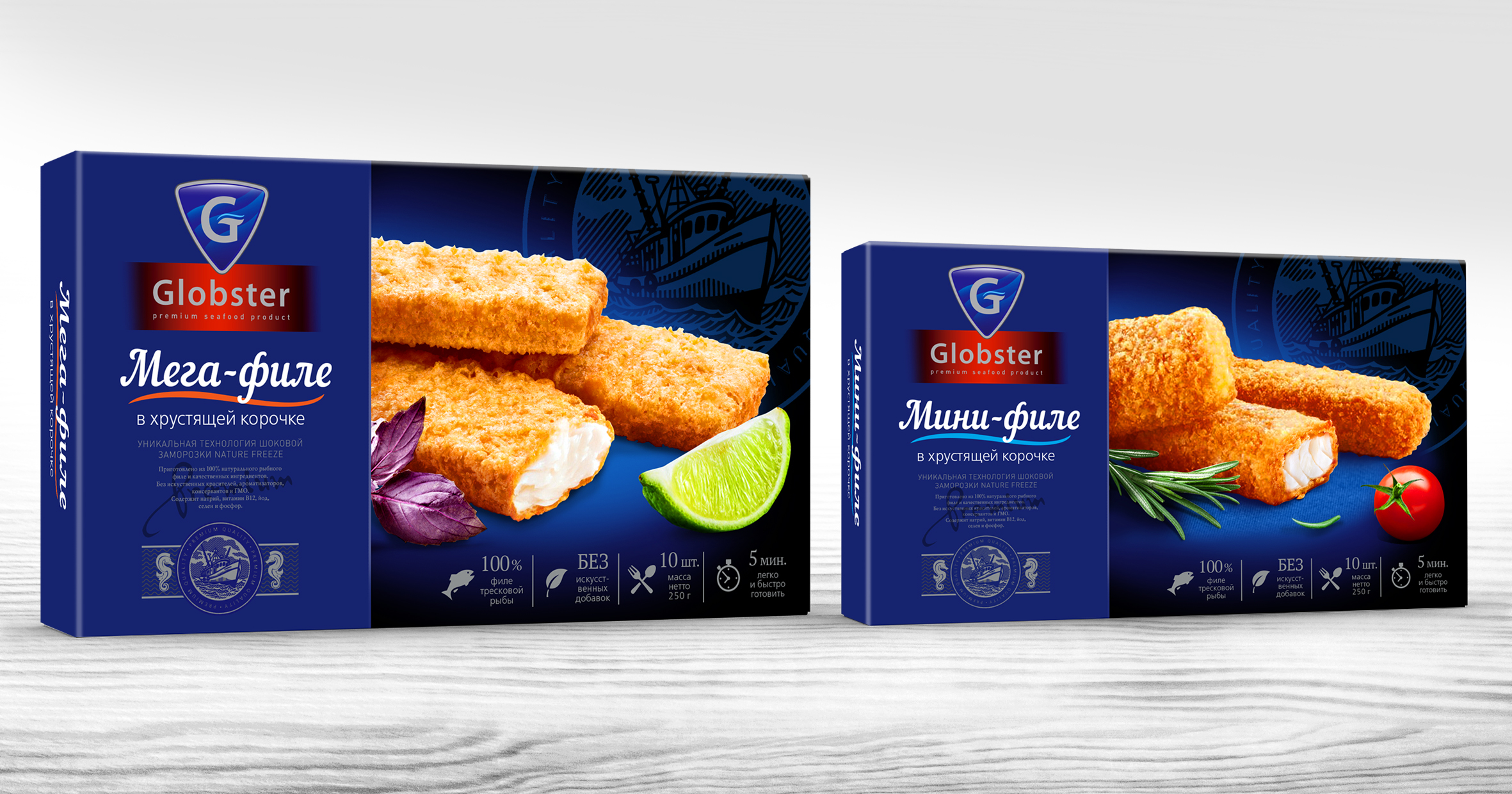 Design of concept seafood, fish semi-finished products