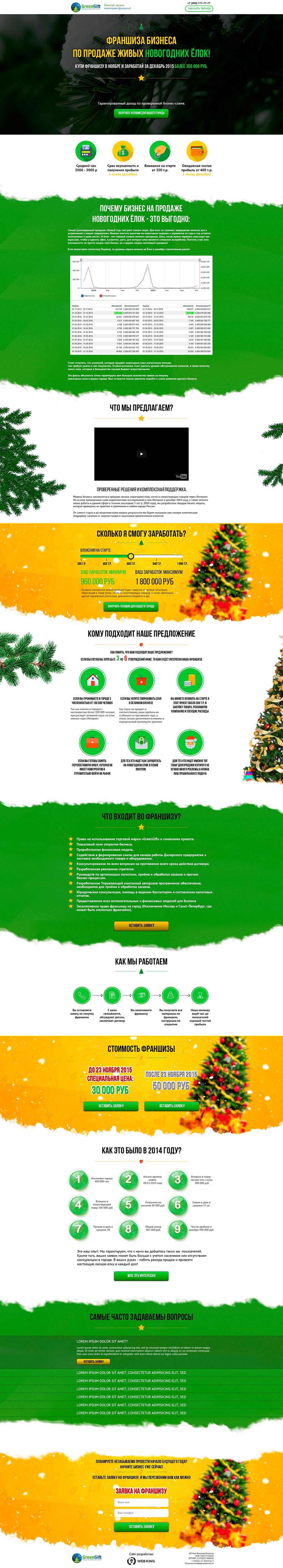 Лендинг для франшизы по продаже новогодних елок
