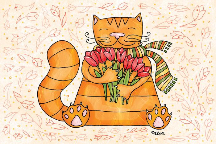 кошка с тюльпанами