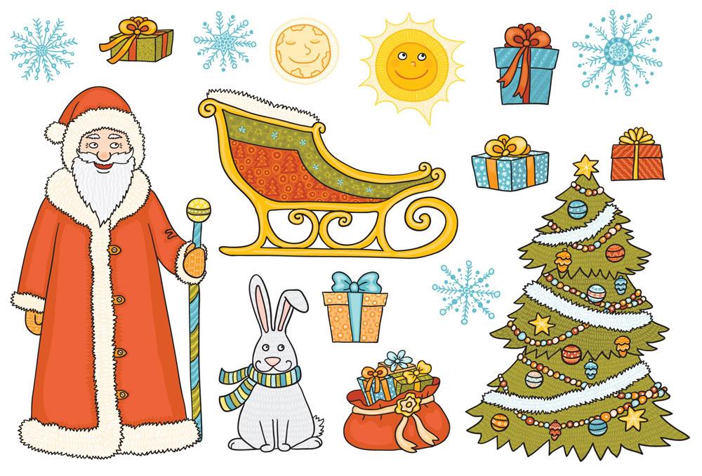 Набор новогодних наклеек