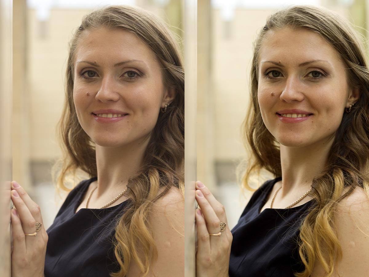 Цветокоррекция-повышение контраста на лице(девушка)