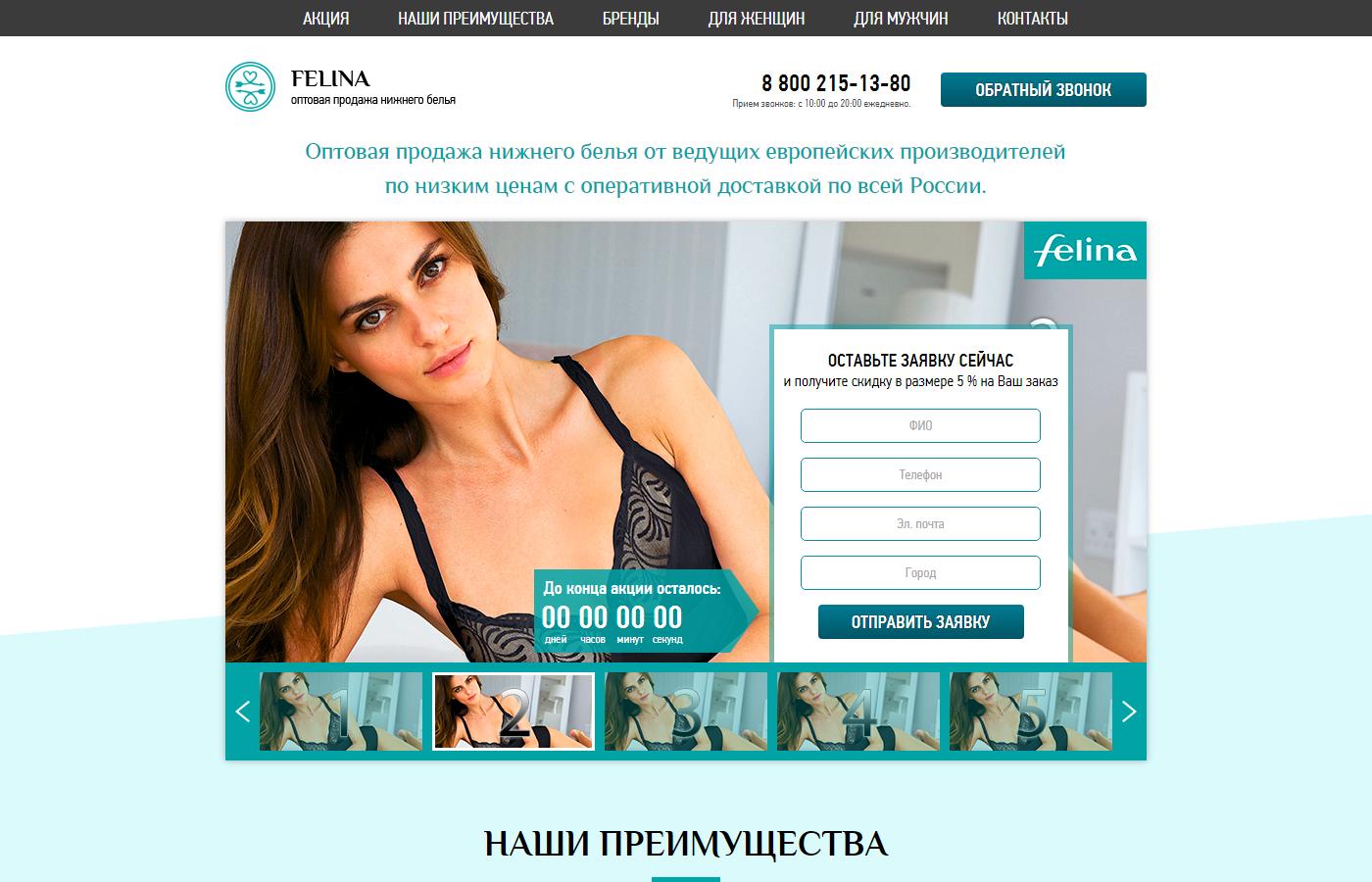 2014 - Landing Page по продаже нижнего белья