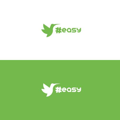 Разработка логотипа в виде хэштега #easy с зеленой колибри  фото f_6965d4d83cf43a8e.jpg