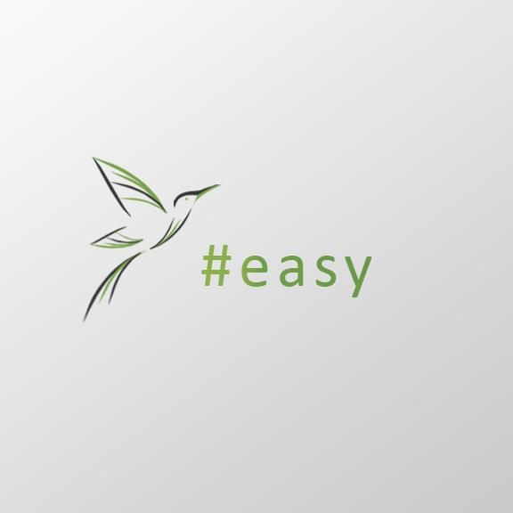 Разработка логотипа в виде хэштега #easy с зеленой колибри  фото f_4385d518fbc48902.png
