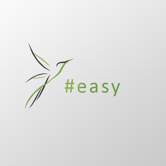 Разработка логотипа в виде хэштега #easy с зеленой колибри  фото f_7195d5195a2a12b8.png
