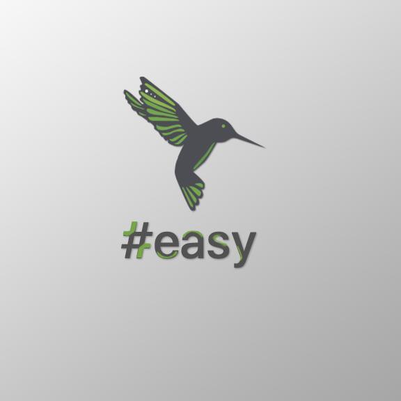 Разработка логотипа в виде хэштега #easy с зеленой колибри  фото f_8855d4dba78b3ab3.png