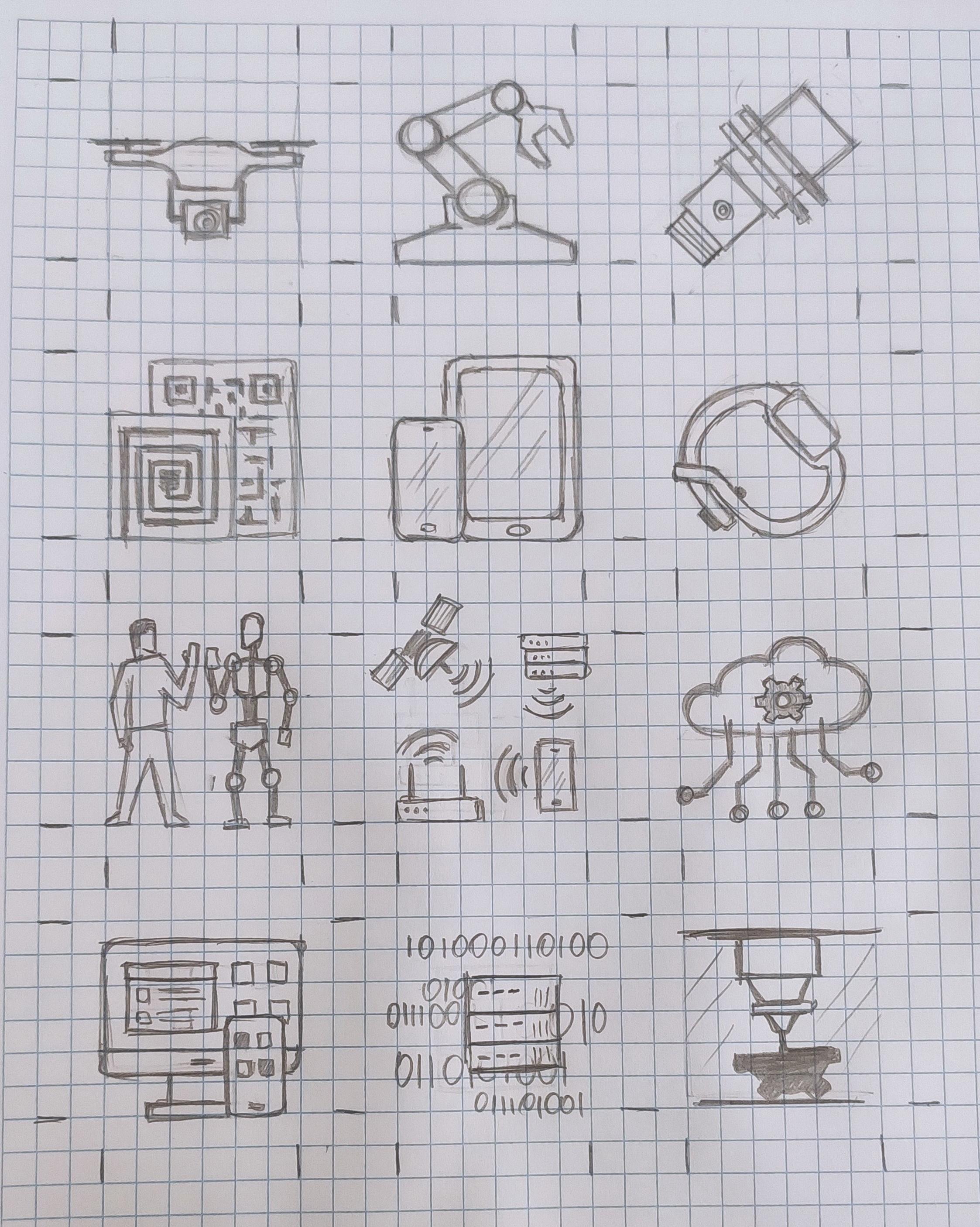 Технологии • Цветные плоские иконки • 12 шт.