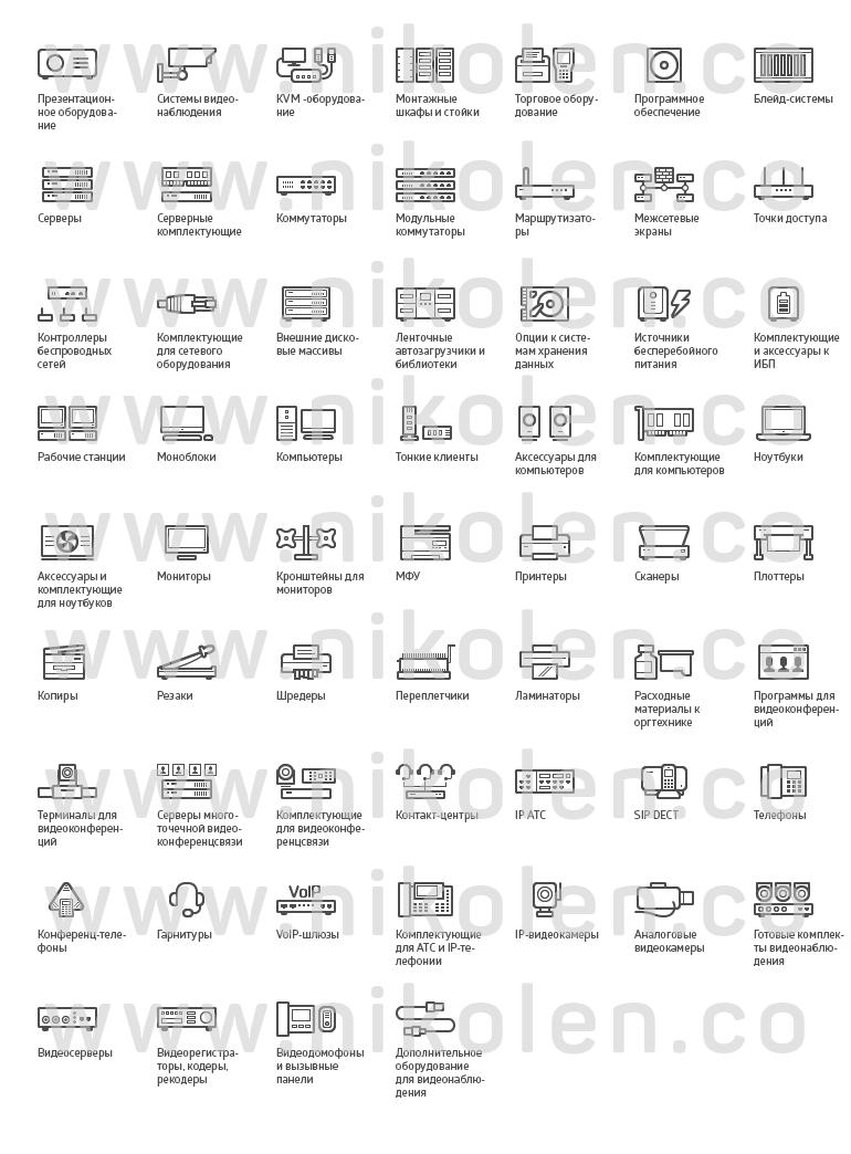 Контурные иконки — ИТ, компьютеры, технологии
