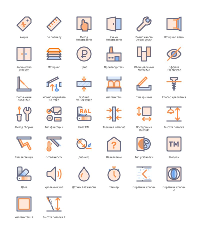 Характеристики изделий • Лючки.рф • Изометрия, линии • 100+ шт.