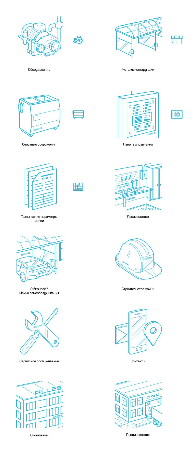 Контурные иконки в проекции — оборудование для автомоек