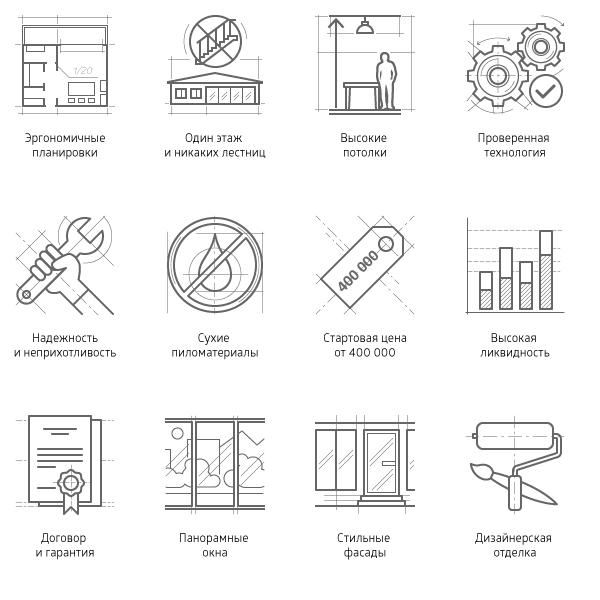 Чертежные иконки, услуги и характеристики • Линии • 12 шт.