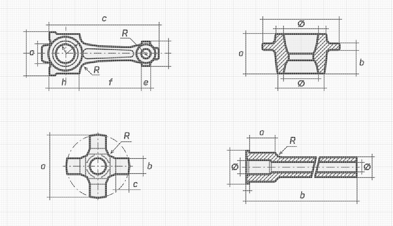 Чертежи деталей • Линейные иконки в виде чертежей • 70 шт.