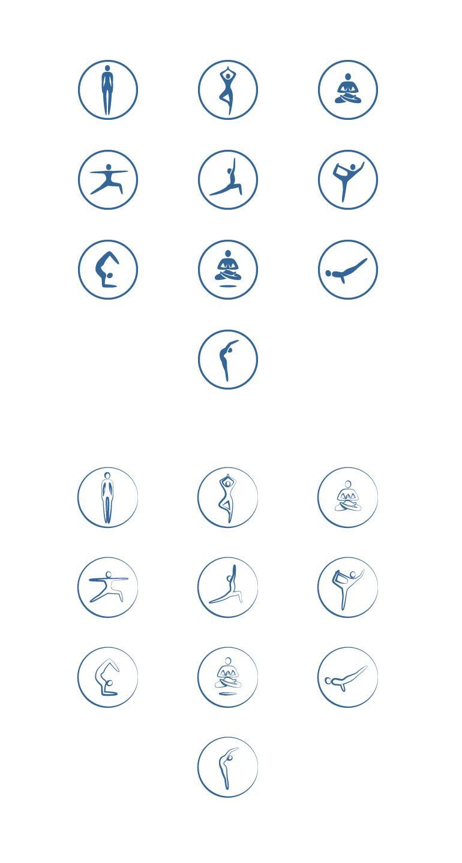 Плоские иконки в двух стилистиках — позы йоги [20]