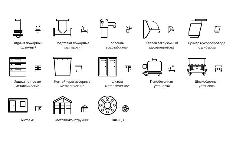 Контурные плоские иконки — продукция механического завода [26]
